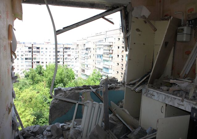 A destroyed apartment in a multiple occupancy building that was damaged during the shelling of Horlivka in the Donetsk Region