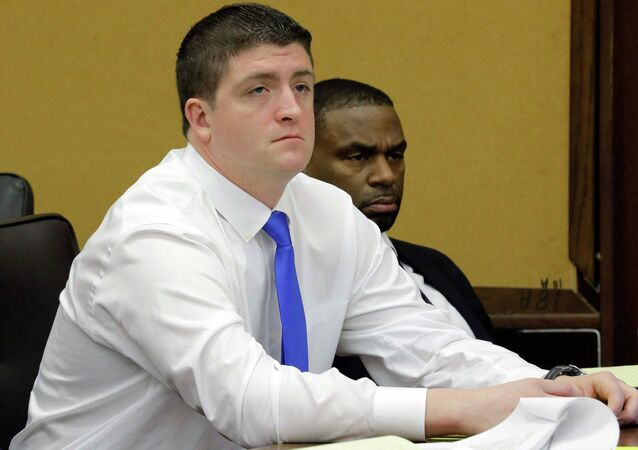 Cleveland police officer Michael Brelo attends his manslaughter trial in Cleveland, Ohio, in this file photo taken April 6, 2015. Brelo was found not guilty on Saturday of voluntary manslaughter of an unarmed man and woman who were killed after a high-speed car chase in 2012