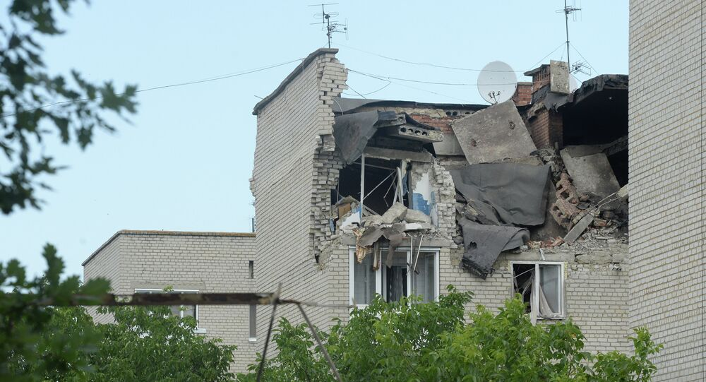 Residential building damaged by the artillery shelling of the city of Marinka near Donetsk by Ukrainian forces.