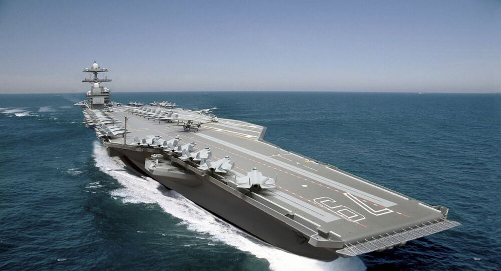A photo illustration of the aircraft carrier John F. Kennedy (CVN 79) shown in this handout image courtesy of Huntington Ingalls Industries, Inc. released on June 5, 2015