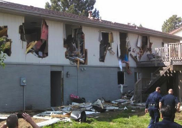 Leo Lech's house after it was nearly demolished by police during a standoff