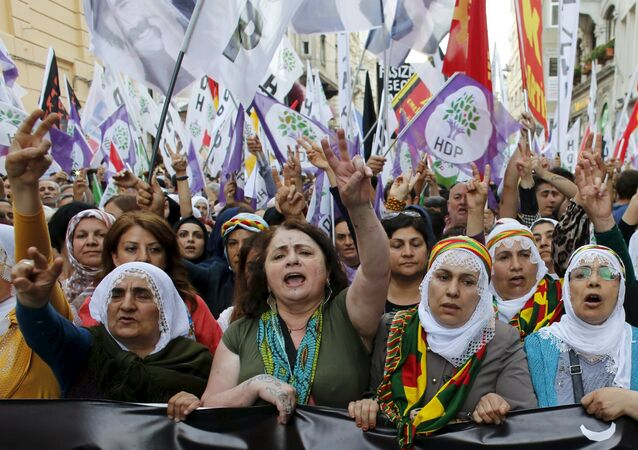 Supporters of pro-Kurdish Peoples' Democratic Party (HDP)