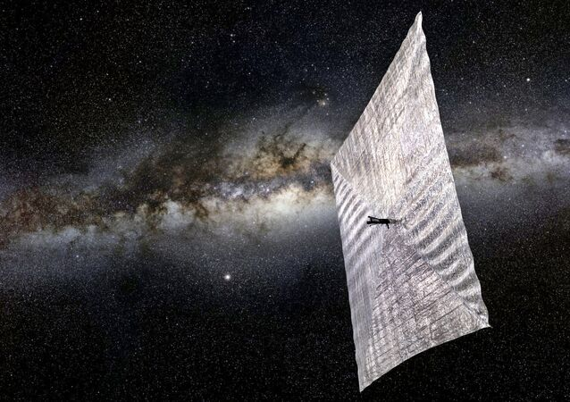 Artist's concept of LightSail 2 above Earth.