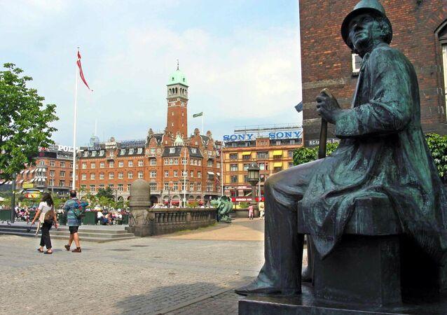 Danish fairy tale writer Hans Christian Andersen statue in Copenhagen