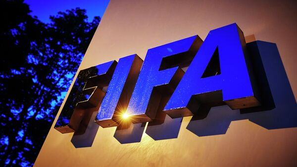 The FIFA logo is pictured at the FIFA headquarters on June 2, 2015 in Zurich - Sputnik International