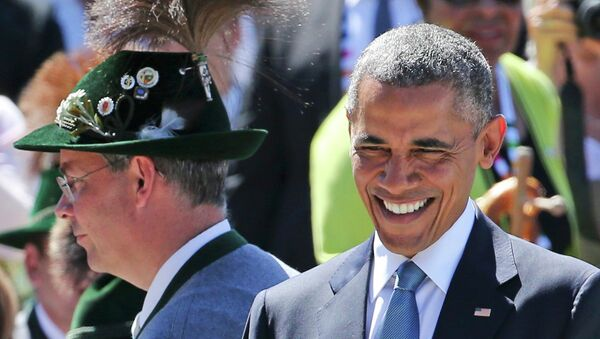 US President Barack Obama smiles as he arrives in Kruen, southern Germany, June 7, 2015 - Sputnik International