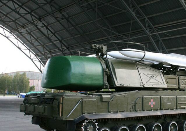 A Ukrainian Buk-M1 anti-aircraft missile system.