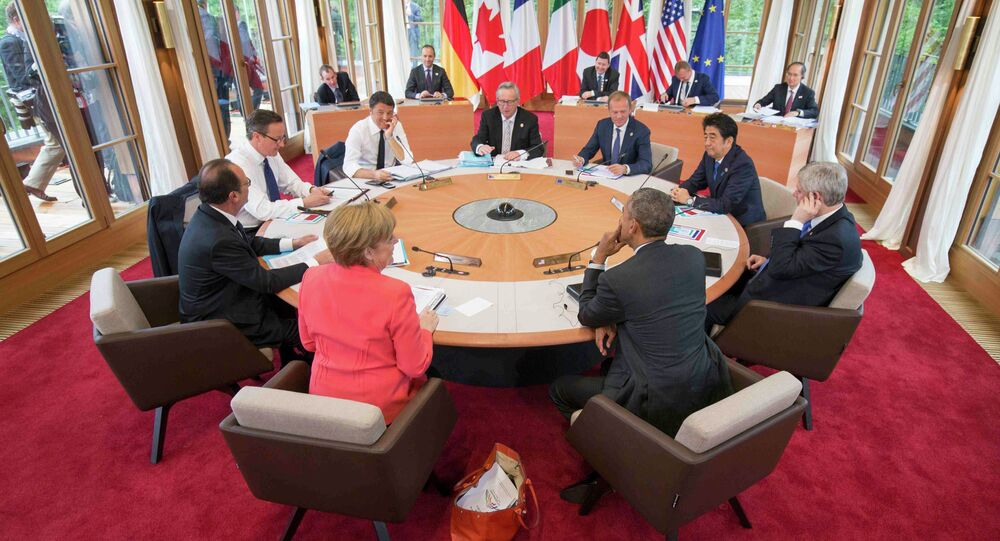 Working session of a G7 summit at the hotel castle Elmau in Kruen, Germany, June 8, 2015
