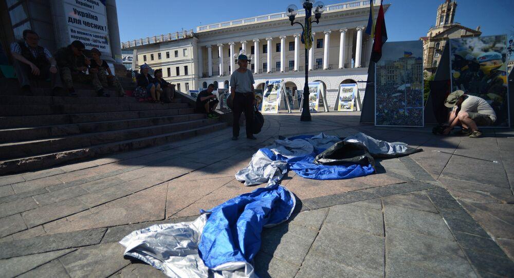 Tent camp in central Kiev demolished