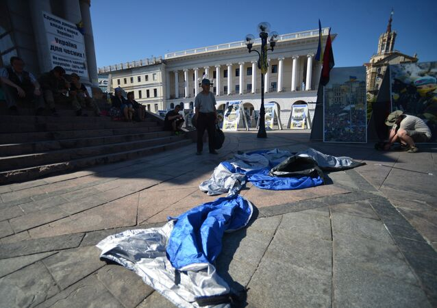 Tent camp in central Kiev demolished