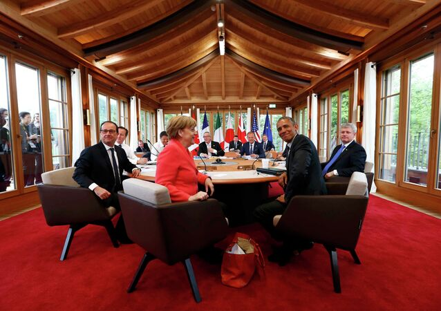 Second working session of a G7 summit at the Elmau Castle near Garmisch-Partenkirchen, southern Germany, on June 8, 2015