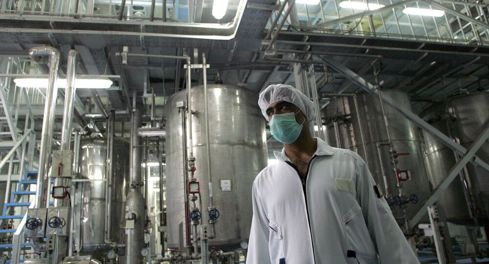 An Iranian technician works at the Isfahan Uranium Conversion Facilities (UCF), 420 kms south of Tehran, 03 February 2007