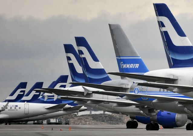 Finnair planes are grounded at Helsinki airport on November 16, 2009