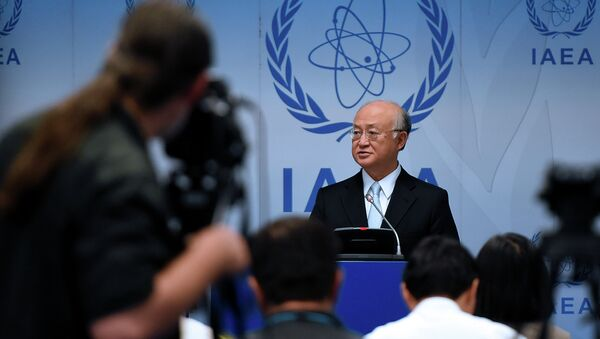 Yukiya Amano, director general of the International Atomic Energy Agency (IAEA) attends a press conference of the IAEA Board of Governors Meeting at IAEA headquarters in Vienna, Austria on June 8, 2015 - Sputnik International