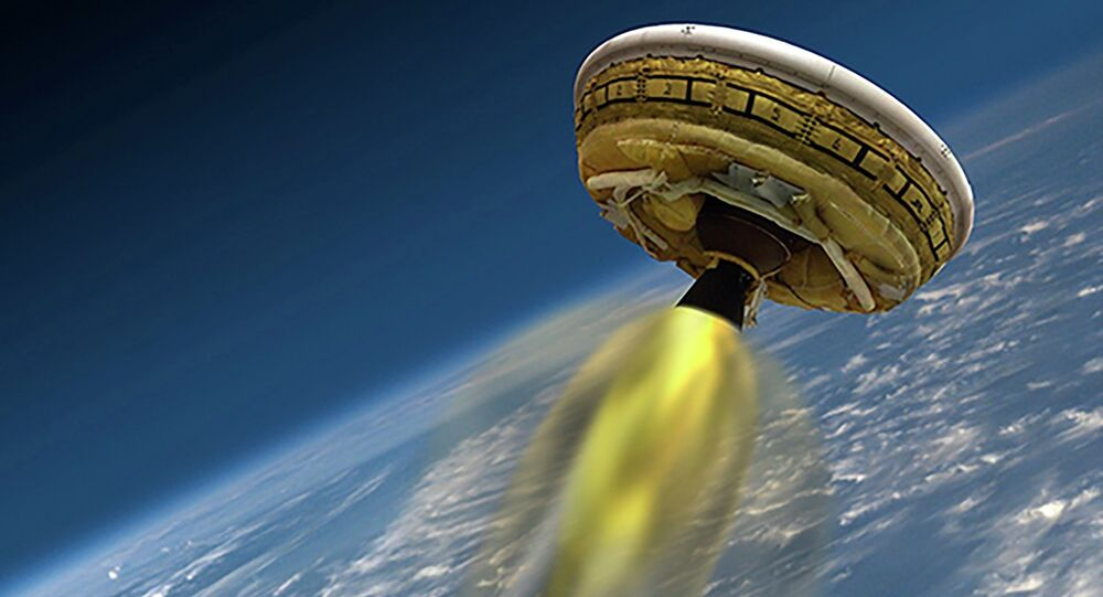 An undated artist's concept shows the test vehicle for NASA's Low-Density Supersonic Decelerator (LDSD), designed to test landing technologies for future Mars missions