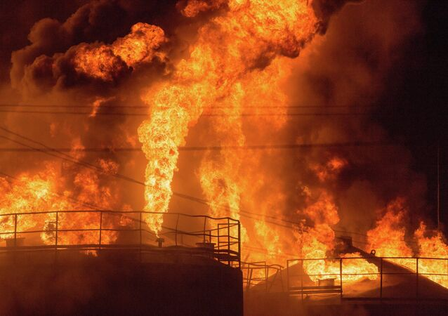 Fire at oil tank farm in Kiev Region
