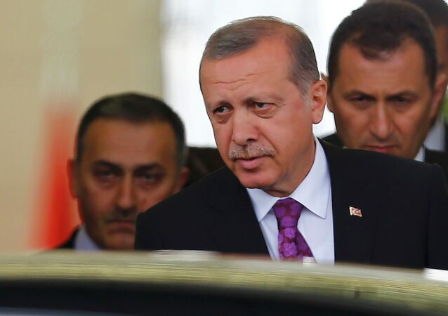 Turkish President Tayyip Erdogan (C) looks on after arriving at Esenboga Airport, in Ankara, Turkey, June 8, 2015
