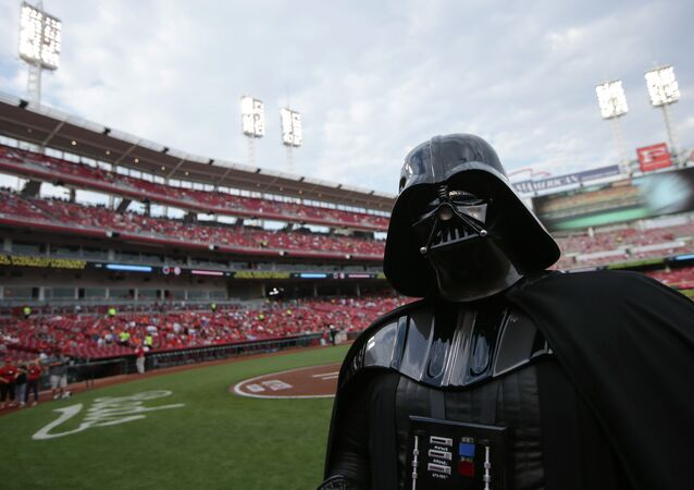Darth Vader, mingling with the common folk.