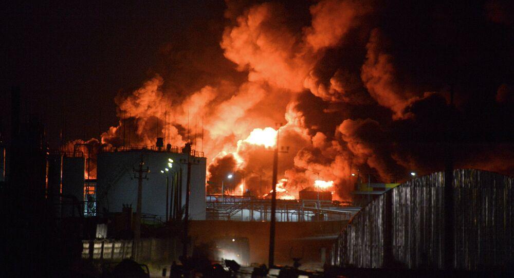 Fire on oil depot near Kiev