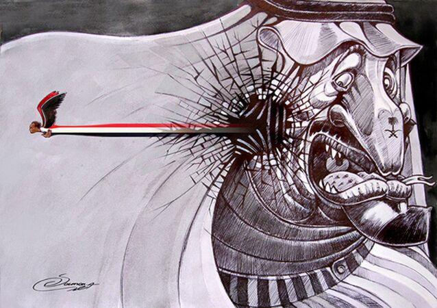 Iranian Saman Ahmadi's cartoon at the exhibition in Tehran