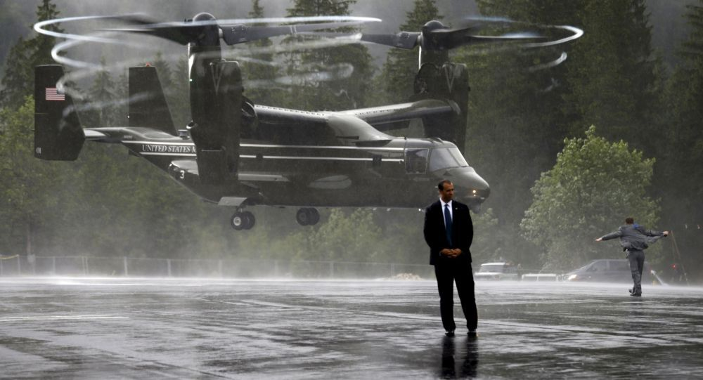 US Marine Osprey sends up a big wash of rain as as it lands near the Bavarian town of Kruen, Germany, June 8, 2015. The Ospreys provided transport to Air Force One in Munich for members of U.S. President Barack Obama's staff, Secret Service, White House Press Corps and other personnel at the conclusion of the G7 Summit