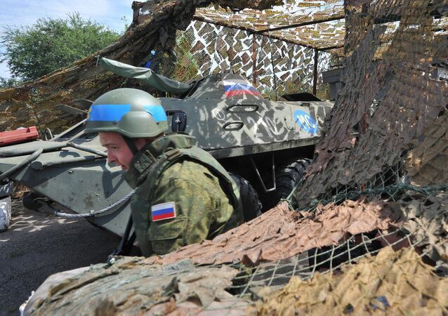 Russian peacekeepers' checkpoint at entrance to Bender