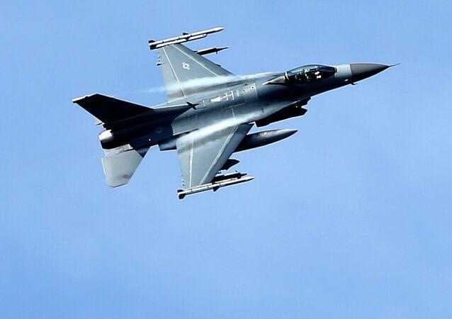 A U.S. military fighter jet participates in a NATO Baltic Air Policing Mission practice mission near Estonia.