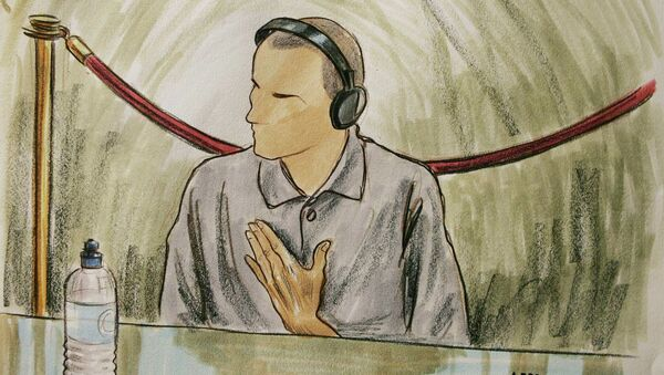 Courtroom sketch, Ali Hamza al Bahlul appears before a military commission at Guantanamo Naval Base in Guantanamo, Cuba. (File) - Sputnik International