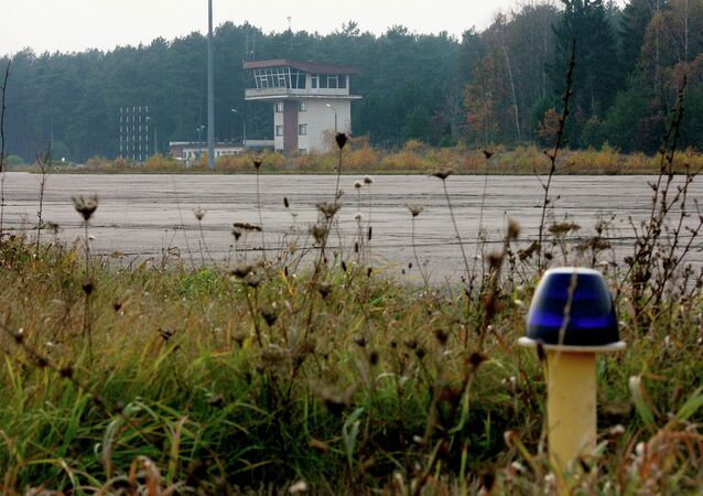 The overgrown runway of an airstrip used by the CIA to covertly bring detainees into Poland.