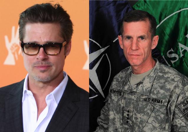 Brad Pitt (left) will play disgraced US general Stanley McChrystal (right)