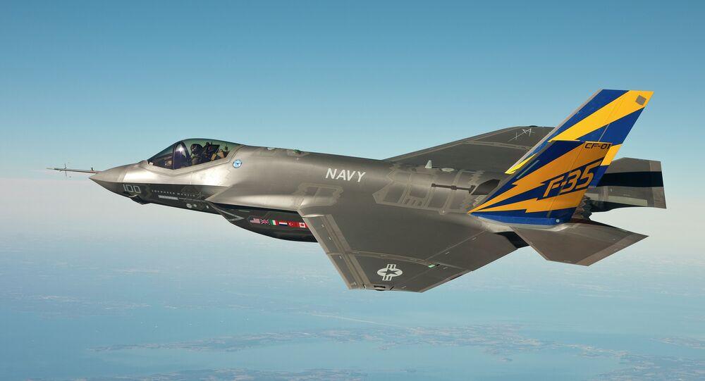 The F-35C conducts a test flight.