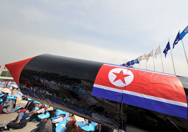 A mock North Korean missile is pictured during a rally denouncing North Korea's nuclear test and its recent missile launches, at the War Memorial of Korea in Seoul