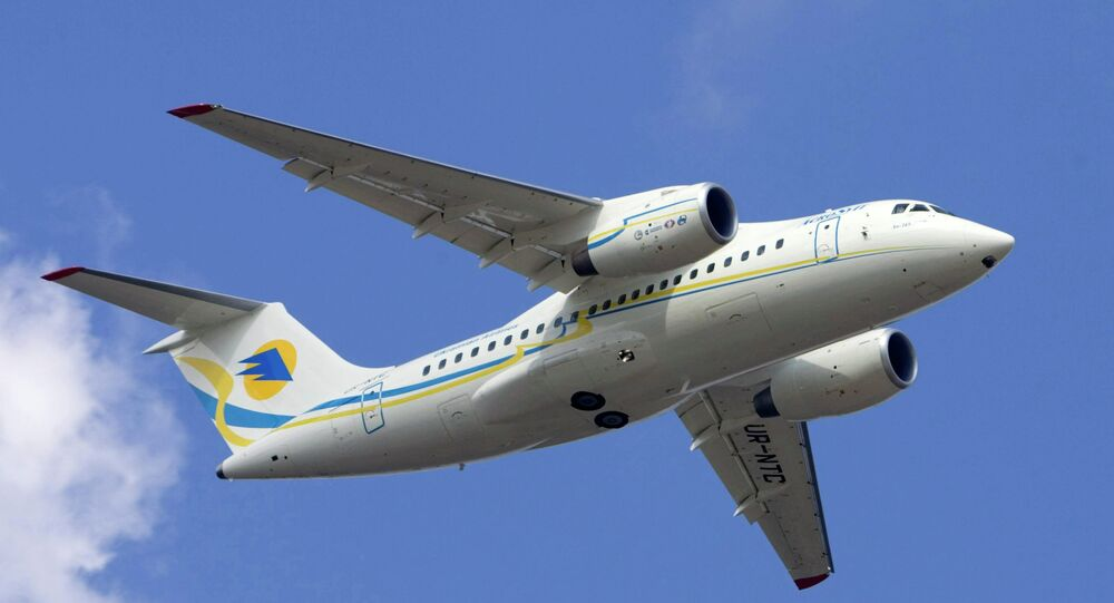 New An-148 regional twin-jet passenger aircraft during its first flight from the Antonov aircraft factory in Kiev, Ukraine