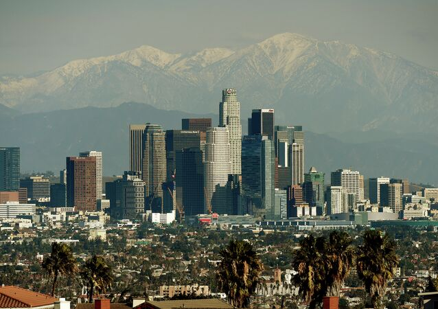 The Los Angeles city skyline