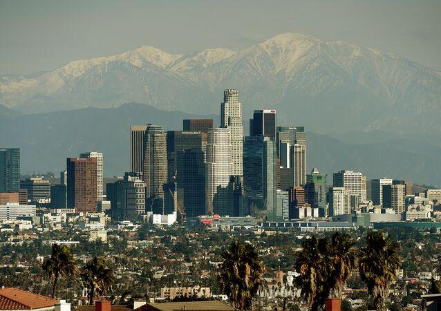 The Los Angeles city skyline