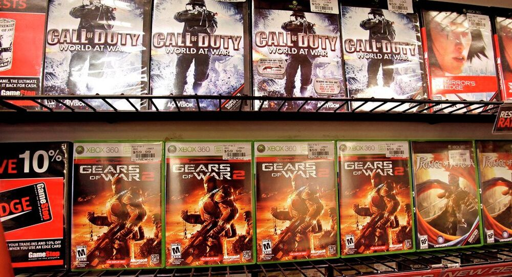 Popular game titles Call of Duty and Gears of War 2 on display