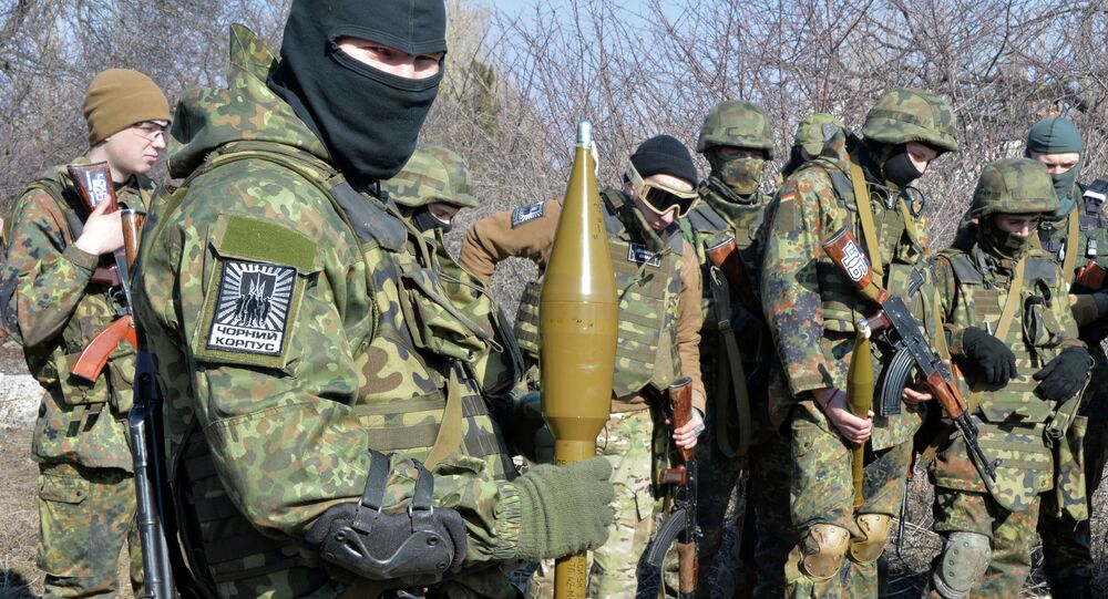 Fighters of Ukrainian volonteer Azov battalion take part in military exercises not far southeastern Ukrainian city of Mariupol, on February 27, 2015