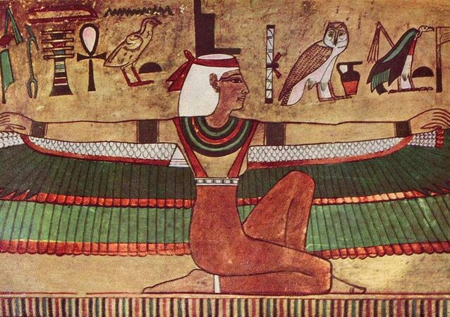 Isis depicted with outstretched wings