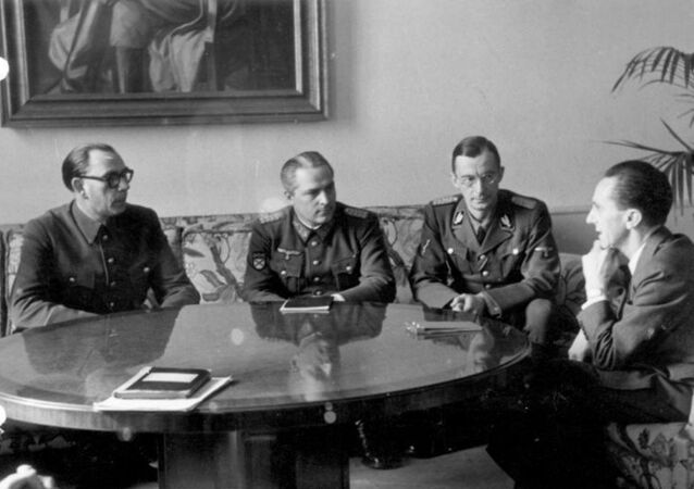 Josef Goebbels (far right) meeting with collaborator Andrei Vlasov (far left), February 1945, Berlin.