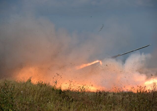 Uragan rocket system launch during an exercise in missile strike and artillery fire control at the Chebarkul firing range of the Central Military District in the Chelyabinsk Region