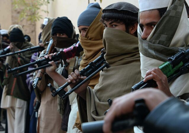 Afghan former Taliban fighters are photographed holding weapons before they hand them over as part of a government peace and reconciliation process at a ceremony in Jalalabad on February 8, 2015