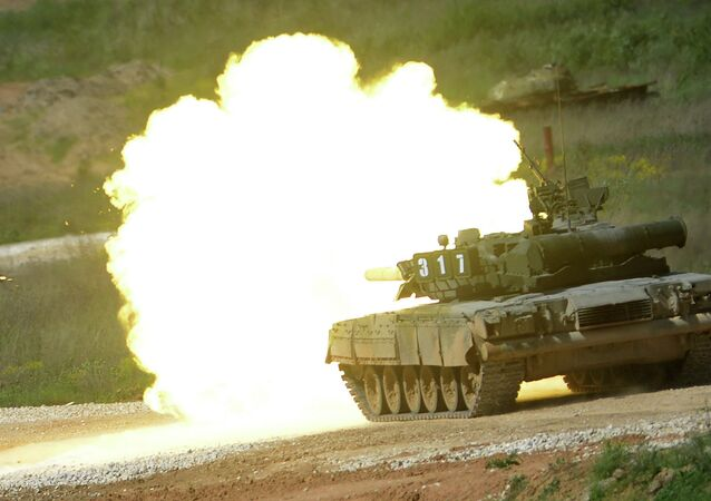 This file photo illustrates a T-80 tank during a demonstration program of Army-2015 International Military-Technical Forum