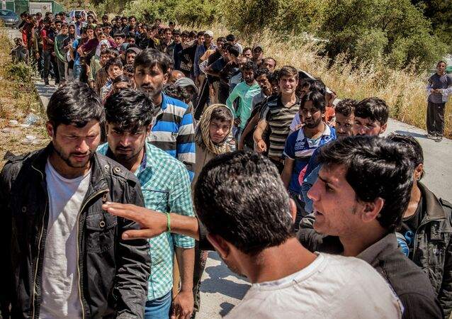 Refugees from Afghanistan are pictured on the island of Lesbos near Moria, Greece