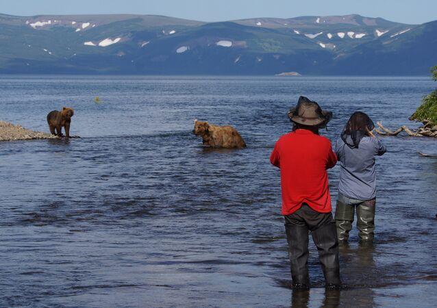 Bears and Tourists at Kurilskoye Lake in Kamchatka