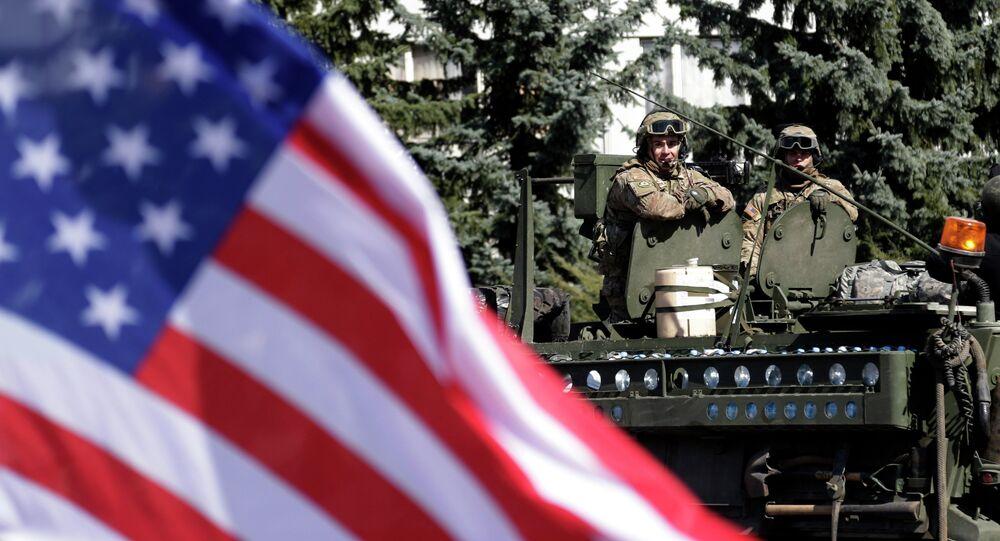 US flag flutters as a US army convoy arrives in Prague, Czech Republic