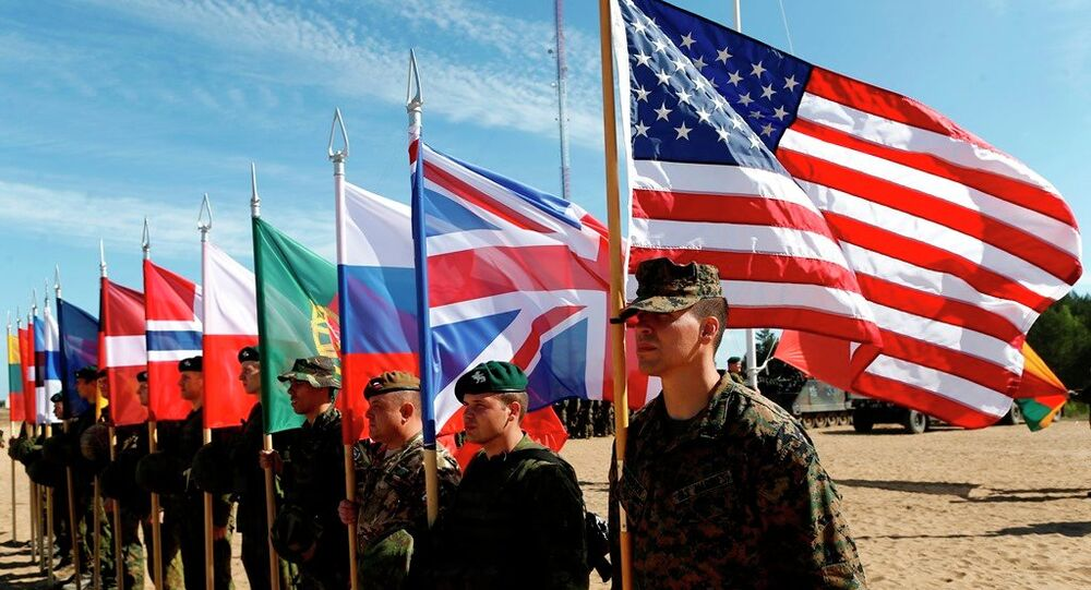 Soldiers from NATO countries attend a opening ceremony of military exercise 'Saber Strike 2015'