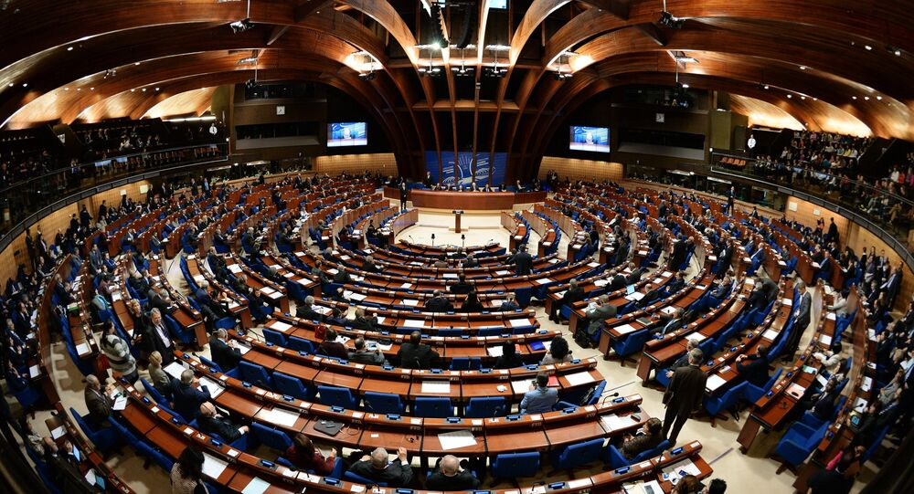Delegates at a plenary meeting of the Parliamentary Assembly of the Council of Europe