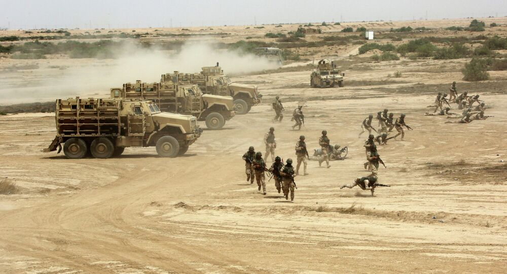 Iraqi, US and Spanish soldiers participate in a training mission outside Baghdad, Iraq