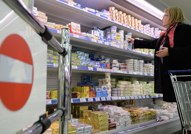 Dairy products at a Moscow supermarke