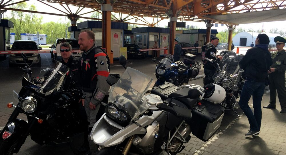 Members of Night Wolves bikers' club on the Belarusian-Polish border. File photo